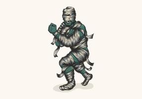 illustrazione di combattente mummia zombie
