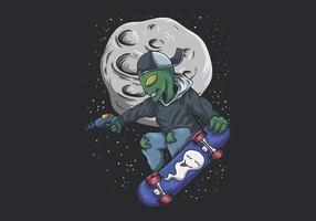 skateboard alieno nell'illustrazione dello spazio vettore