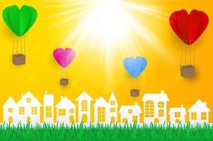 Paesaggio urbano in stile carta con palloncini a cuore vettore