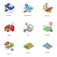 Icone isometriche di vacanza