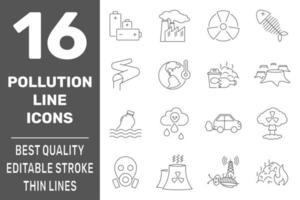 Icone di simboli di inquinamento di ecologia messe