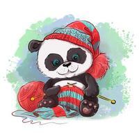 Il panda dell'acquerello del fumetto lavora a maglia una sciarpa