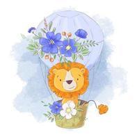 Leone simpatico cartone animato in mongolfiera con fiori vettore