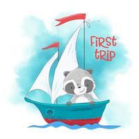 Procione simpatico cartone animato su una nave a vela vettore