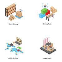 Icone di logistica e spedizione vettore