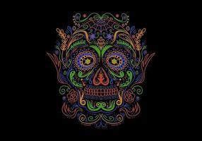 Decorazione colorata Sugar Skull vettore