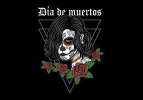 illustrazione della donna di dia de muertos vettore