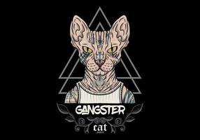 gangster sphynx gatto con tatuaggi vettore