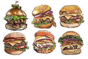 Insieme disegnato a mano di grandi hamburger