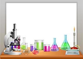 Attrezzature per chimica sul tavolo vettore