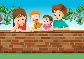 Una famiglia nel cortile di casa vettore