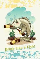 Idioma da bere come un pesce vettore