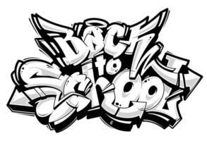 Ritorno a scuola scritte sui graffiti vettore