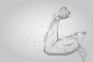 Muscoli della mano maschile 3D punti collegati