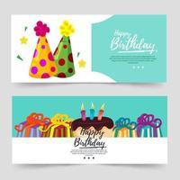 banner a tema compleanno con colore turchese e cappello da festa vettore