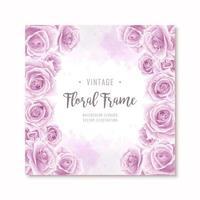 Cornice di fiori di rosa viola adorabile dell'acquerello