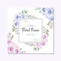 Bella cornice di fiori blu e rosa dell'acquerello