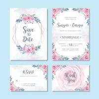 Decorazione floreale della carta dell'invito di nozze del fiore dell'acquerello vettore