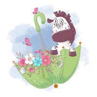 Zebra sveglia del fumetto in un ombrello con i fiori
