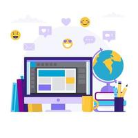Illustrazione online di concetto di istruzione con un computer e libri differenti vettore