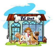 Veterinario e molti animali domestici nel negozio di animali vettore