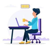 Illustrazione di concetto del lavoro d'ufficio con l'impiegato di concetto maschio felice che si siede alla tavola con la batteria piena vettore