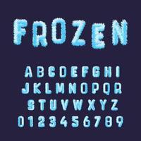 Modello di alfabeto di carattere congelato. Set di numeri e lettere di brina bianca blu vettore