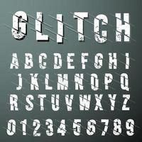 Modello di alfabeto di carattere glitch su sfondo scuro vettore