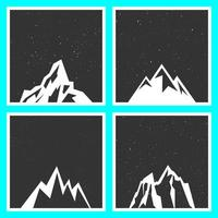 Silhouette di montagna per adesivi, stemmi, francobolli ed etichette