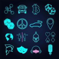 Insieme di vari segno e simbolo della luce al neon vettore