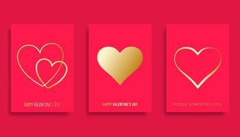 Felice giorno di San Valentino sfondo con cuori sfumati dorati vettore