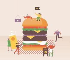 Le piccole persone stanno preparando enormi hamburger nei fast food.
