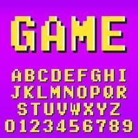 Modello di carattere alfabeto pixel vecchio videogioco pixel vettore
