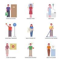 Personaggi che mostrano come prevenire belle giornate polverose. vettore