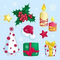 Set di adesivi di Natale vettore