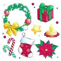 Set di icone festive di Natale vettore