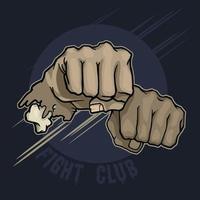 Fight Club. Pugno a mano vettore