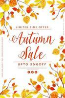Manifesto di vendita di foglie di autunno dell'acquerello