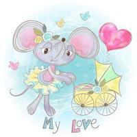 Mamma mouse con un bambino in un passeggino. Il mio bambino. Baby Shower Acquerello vettore