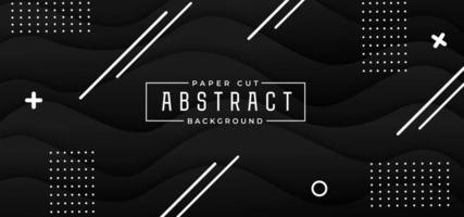 Fondo nero alla moda astratto del taglio della carta