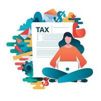 Concetto di pagamento fiscale online vettore