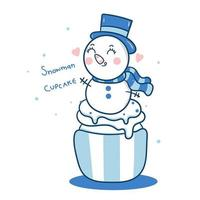 Cupcake pupazzo di neve carino buon Natale, muffin invernali cartoni animati dolci kawaii vettore