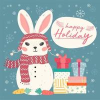simpatico pupazzo di neve coniglietto piatto vettoriale con un mucchio di scatole regalo e fiocco di neve che cade, idea per carta e banner