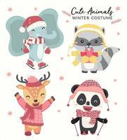 Animali selvaggi pastelli felici svegli nel vettore piano della raccolta di tema del costume di inverno