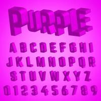 Carattere alfabeto design viola vettore
