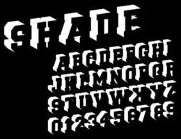 Modello di carattere alfabeto ombra vettore