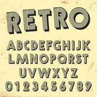 Modello di carattere linea retrò. Set di lettere vintage e numeri linee design vettore