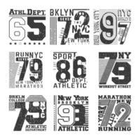 Tipografia numero t-shirt timbro per badge, applique, etichette t-shirt vettore