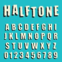 Design di mezzitoni punteggiato di carattere alfabeto vettore