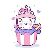 Cupcakes kawaii topping unicorno cartoon fata, dessert cibo per bambini di colore pastello vettore